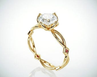 SALE! 14K Gold Moissanite and Natural Ruby Engagement Ring  | 14k gold Forever One Mossanite and natural ruby engagement ring