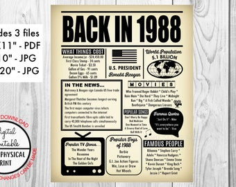 30 years ago Back in 1988 Newspaper Style Poster, 30th Birthday Poster Sign, Printable, Instant Download, 1988 Facts, Anniversary Gift