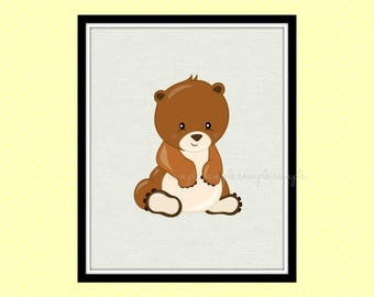 Woodland Nursery Decor, Woodland Animals Printable Wall Art, Bear Wall Art Decor, Baby Wall Art Decor, Instant Download