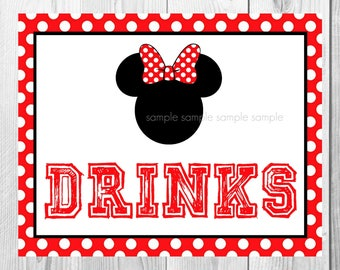 "Drinks Sign, Minnie Mouse Birthday Party Sign, 8""x10"" Printable, Instant Download"
