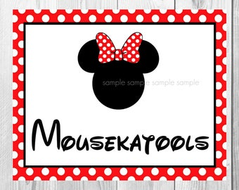 "Mousekatools Sign, Minnie Mouse Birthday Party Sign, 8""x10"" Printable, Instant Download"