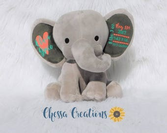 Birth Announcement Stuffed Animal Memory Bear Elephant