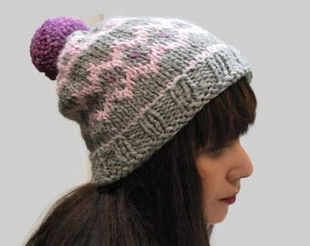 Knit fair isle hat, pom pom hat Hand Knit Beanie, Gray- Pink- Amethyst beanie, chunky woman hat, wool hat, winter accessory, warm hat