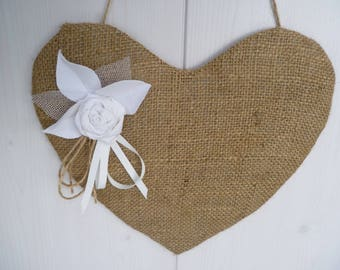 Burlap heart and pink shabby hanging