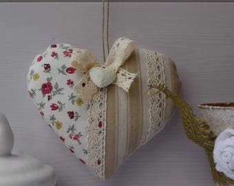 Decorative heart ticking and liberty fabric - pillow of door - hanging - heart shabby heart