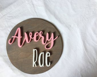 12 Inch Round Custom Name Sign  Nursery name Sign   Wood cut out   Name cut out   Nursery decor  Wood baby name   Wall hanging   Personal
