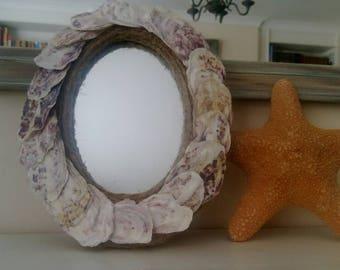 oyster shell oval small wall mirror coastal nautical theme beach wedding gift seashell mirror