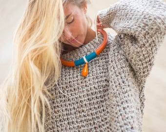 Orange and dark turquoise pop necklace with maxi drop