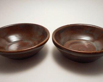 Stoneware Ceramic Snack Bowls (set of 2), Handmade Pottery, Hand Thrown, Hand Painted, Kitchenware, Entertaining (B0020)