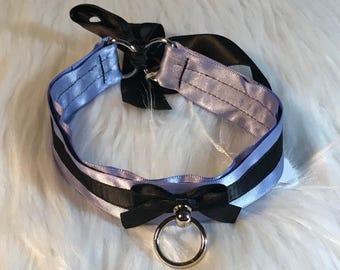 "13"" Lavender and Black Collar, choker necklace petplay pet play kitten kitty ddlg bdsm bondage kawaii cute neko cosplay pastel"