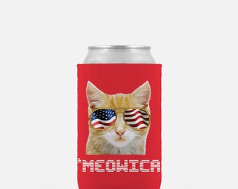 Meowica Can Cooler - Beer Cooler - 4th of July Drink Cooler - Orange Cat- Cat Beverage Insulator