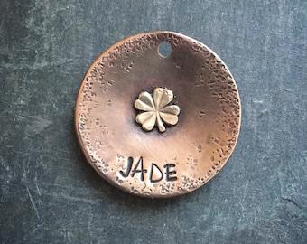 Personalized Dog Tag, Clover Dog Tag, Four Leaf Clover, France, Custom Dog Tag, Hand Stamped Dog Tag, Metal Hounds Dog Tag