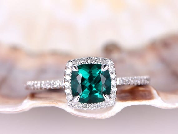 Emerald Engagement Ring,6mm Cushion Cut Lab-treated Emerald Wedding Ring,Natural Diamond Band,Diamond Halo,Stackable Ring,14K White Gold