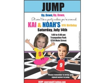 Trampoline Party Invitation for Twins, Bounce House Birthday Invitation Twins, Digital Invitation, Twin Birthday Invitation, Photo Card