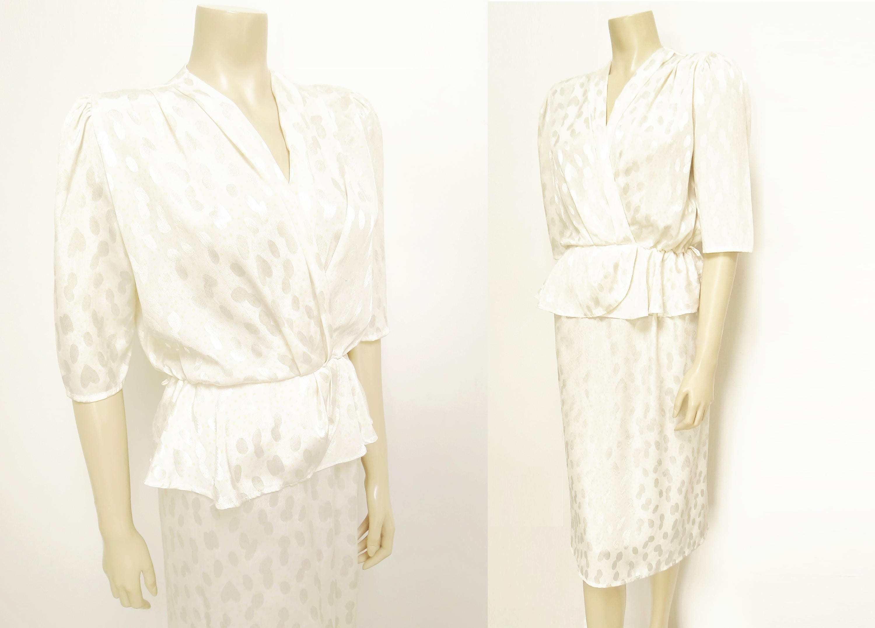 Vintage Dress UK12 1980s Cream Dress Wedding Guest