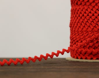 "Red zig zag trim, rick rack trim-cotton polyester-1/8"" wide (LC20074)"