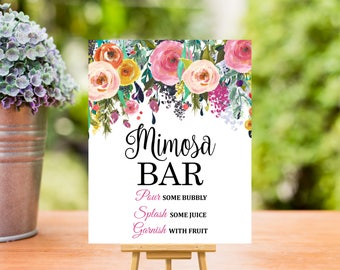Mimosa Bar Sign Printable, Floral Mimosa Bar Printable, Wedding, Bridal Shower, Baby Shower, Birthday, 8x10, Instant Download A15 B14 C17 R2