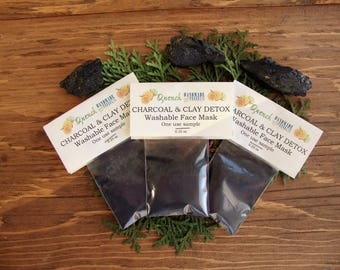 Charcoal Mask Sample: Activated charcoal mask, kaolin clay mask, washable face mask, charcoal detox face mask, Spa mask, stocking stuffers