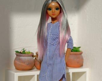 Reserve for V. Wig for J-Doll (gray & pink)