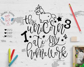 School svg, unicorn svg, the unicorn ate my homework svg cut file, homework cut file, student svg, student cut file, school cut file, cricut