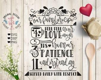 Family recipe svg file, Family Recipe Cut File in SVG, DXF, PNG, Family svg file, Family love svg, Family svg design, Family Wooden Sign svg