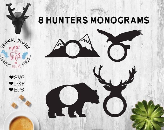 wolf monogram, bear monogram, mountains monogram, eagle monogram, bear print monogram, antler monogram, arrows monogram, hunting monogram