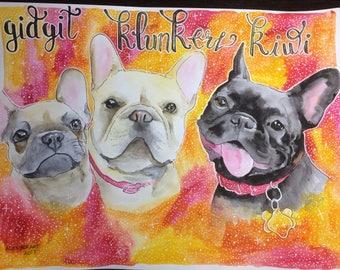 3 Dog Portrait-Original Watercolor Dog Drawing- custom illustration- Dog Lover Gift
