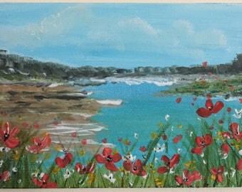 Original acrylic painting seascape/landscape wild flowers wall art