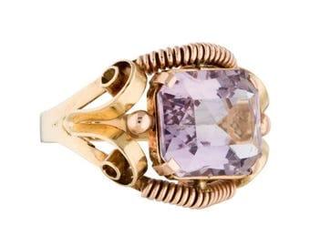 14k gold rose de france amethyst ring