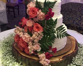 """Wood Log Cake Stand - rustic or forest themed weddings and/or birthday events - ENGRAVING INCLUDED! - ranging from 14"""", 16"""", 18"""", 22"""" inches"""