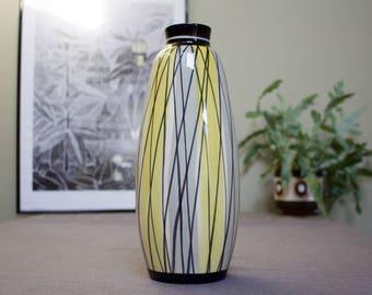 Tall West German Ceramic Vase in Yellow, Grey and Black Geometric Glaze - 1950s