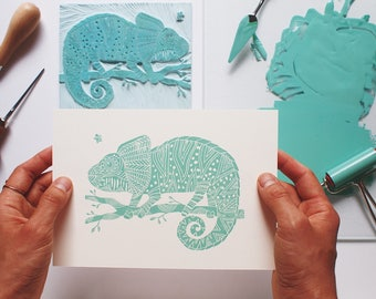Chameleon and the Fly - Original Handprint - Limited Edition (100)