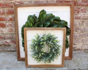 Shiplap Art & Mini Eucalyptus OR Magnolia Wreath - Reclaimed Wood - Handmade - Farmhouse - Home Decor - Custom Pieces