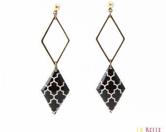 double Stud Earrings resin Medallion Black graphic pattern, diamond