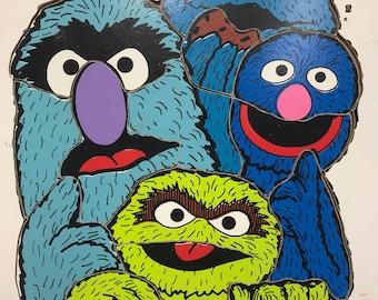 Vintage Playskool Sesame Street Four Monsters Wooden Puzzle