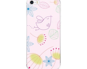 iPhone Case, Bird, Flowers, Pink, iPhone 6 Plus, iPhone 6SPlus, iPhone 7+, iPhone 8+, iPhone 7/8, iPhone X