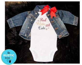 4th of July Baby Girl, 4th of July Outfit, 4th of July Onesie, Red White and Blue Onesie, Patriotic Baby Onesie, Red White and Cute Baby