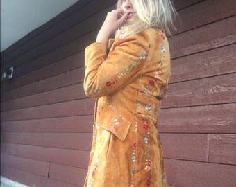 Vintage bohemian floral pea coat