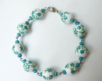 Bracelet, Handmade, Porcelain beads, Wooden beads