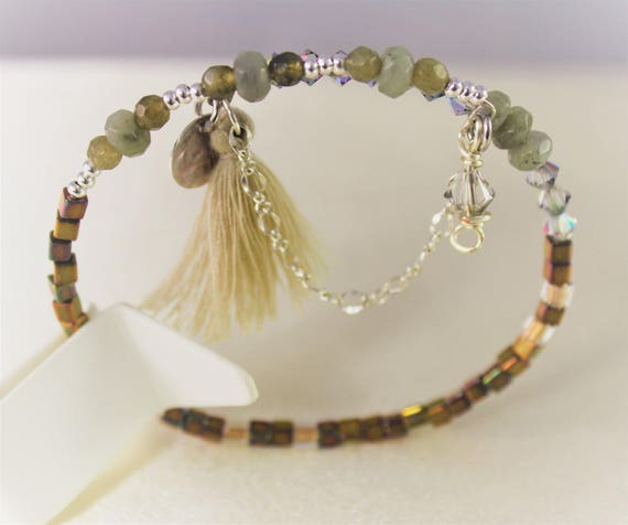 memory labradorite, swarovski crystal, seed beads and charms bracelet