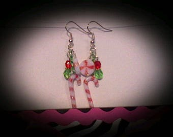 Holiday candy earrings.