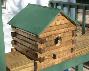 how to build a log house bird feeder
