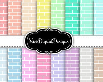 Buy 2 Get 1 Free-16 Digital Papers. Brick Wall in Pastel Colours (1A no 1) for Personal Use and Small Commercial Use Scrapbooking