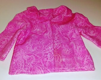 18-inch Doll Pink Paisley Print Flannel Pajamas, American Girl Sizing Two Piece Pink Pajamas