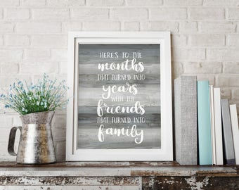 Friendship Quote, Gray Wood, Friends Quote Print, Wood Sign Print, Rustic Wood Quote, Gallery Wall Art, Farewell Gift, Quote Digital Print