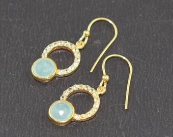 AAA 1 Pc 925 Sterling Silver Aqua Chalcedony and Lemon Quartz Gemstone Earring,Delicate Earring,Earring,Hanging Earring,Tiny Earring,LES145