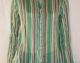 D & G, DOLCE and GABBANA, Italian Shirts, Colorful Green Pinstripes, Cotton, Long Sleeves, Summer Shirt, Blouse, Summer Blouse, Size M, M