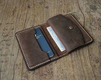 Leather wallet mens wallet wallet with coin purse Brown