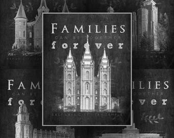 Select LDS / Mormon Temple Chalkboard Style Prints Salt Lake City, Payson, Provo City Center, Mount Timpanogos, Manti, St George and Logan