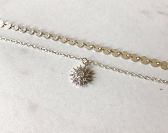 Silver Sun Choker Necklace // sterling silver necklace // Sun Necklace // Sun and Moonstone